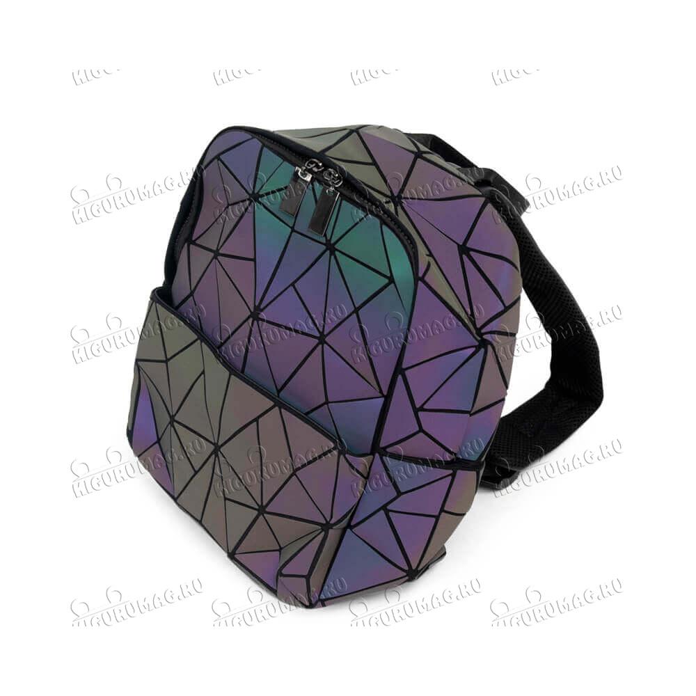 Рюкзак Хамелеон неоновый, узор геометрический на замке - 7