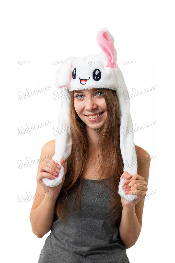 Шапка кигуруми с подвижными ушками и подсветкой Кролик белый - 3