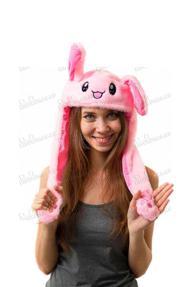Шапка кигуруми с подвижными ушками и подсветкой Кролик розовый - 3